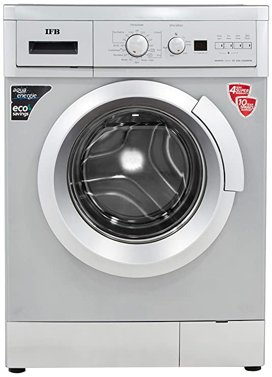 IFB 6 Kg Fully Automatic Front Loading Washing Machine  Serena Aqua SX LDT 6.0kg 1000RPM, Silver, Inbuilt Heater, Aqua Energie water softener  Large A