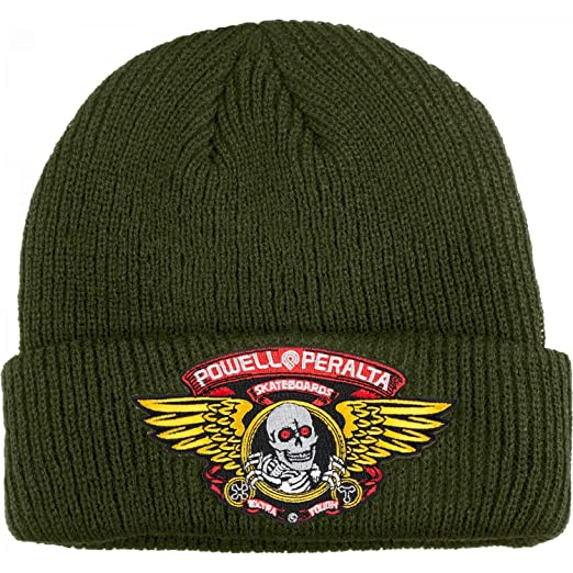 c1541720412 Image Unavailable. Image not available for. Color  Powell-Peralta  Skateboard Beanie Winged Ripper Military Green