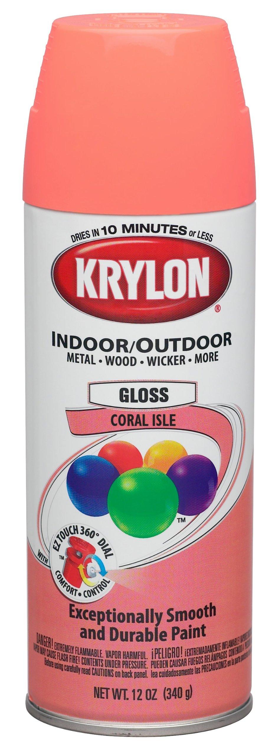 Krylon (K05210307-6 PK) Coral Isle Interior/Exterior Decorator Paint - 12 oz. Aerosol, (Case of 6)