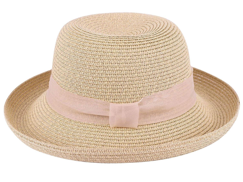 44b405ababdc9d Jasmine Sun Protection Hat Women's Lightweight Packable Bucket Straw Hat,  Beige at Amazon Women's Clothing store: