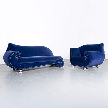Bretz Gaudi Designer Samt Sofa Sessel Garnitur Blau Stoff Couch ...