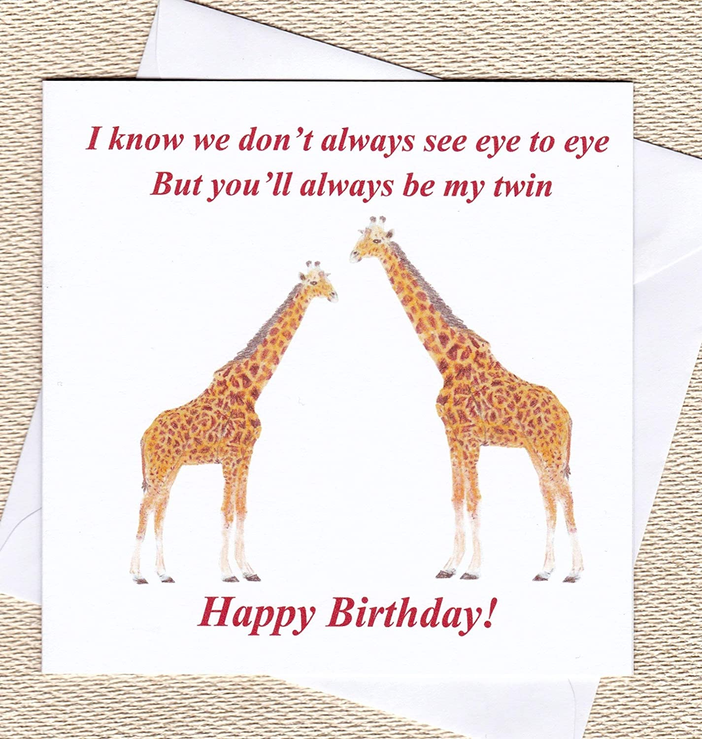 Giraffe Birthday Card for a Twin from a Twin