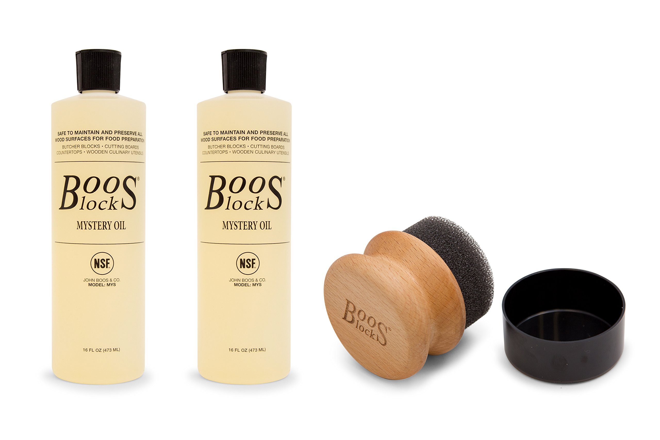 John Boos Cutting Board Care and Maintenance Set: Includes Two 16 Ounce Bottles Mystery Oil and One Round Applicator
