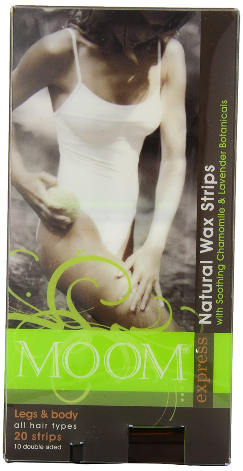 Moom Natural Pre-waxed Strips for Legs and Body 20 Count MEB