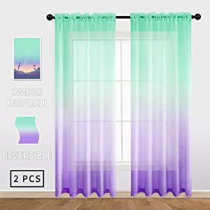 Gradient Semi Sheer Curtains Faux Linen Ombre Voile 100% Polyester Rod Pocket Decorative Reversible Curtain Panels for Living Room, Girls Bedroom, 54 x 84 inch, (42 × 84 inch, Lilac & Turquoise)