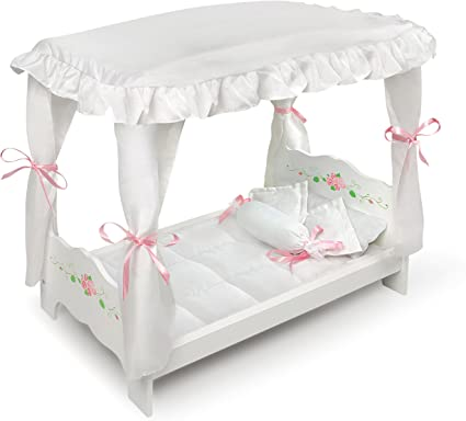 White Badger Basket Rose Doll Bed with Trundle fits American Girl dolls