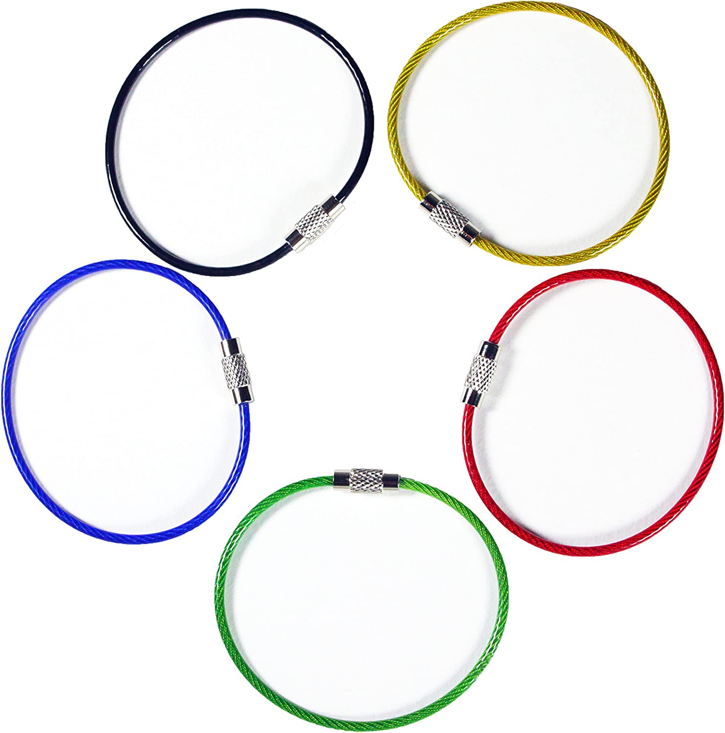 20pack Colored Nylon Coated Stainless Steel Wire Keychains 2mm 6.3 Inches Aircraft Cable Key Ring Loops for Hanging Luggage Tags or ID Tags (Assorted 20 Pack) at  Men's Clothing store