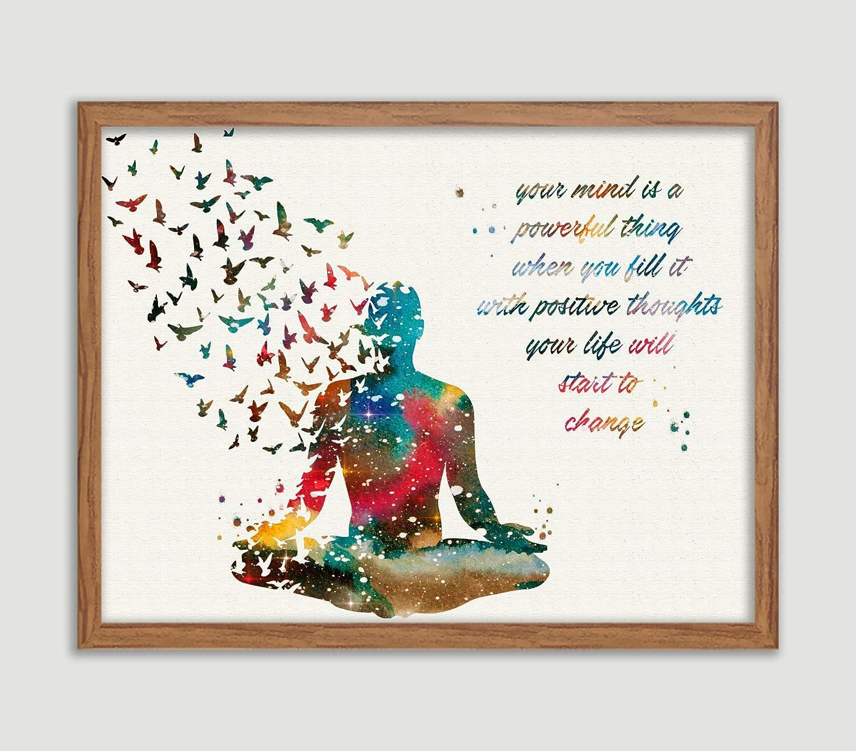 Amazon.com: Yoga Positive Quote Watercolor Poster Meditation ...