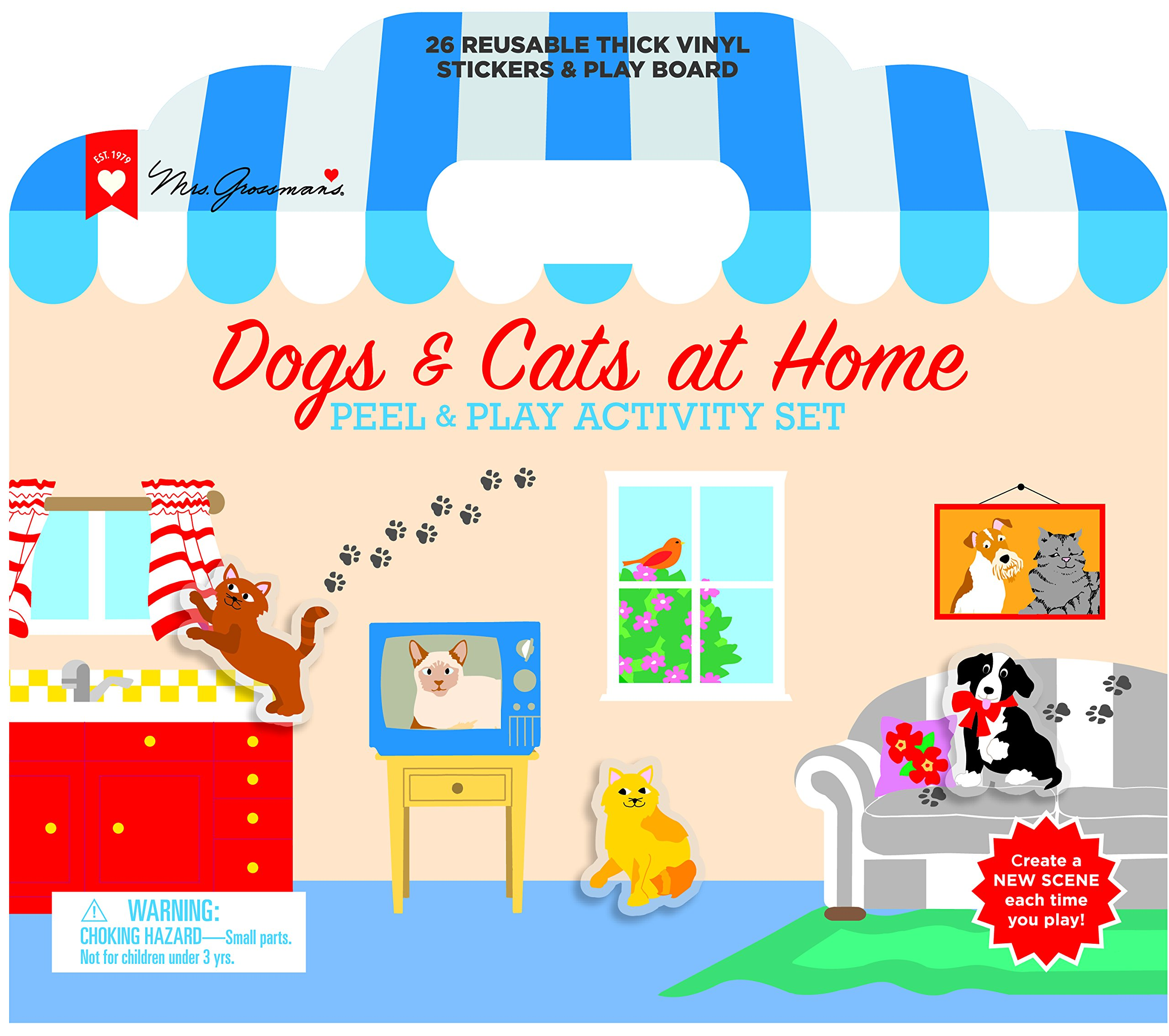 Mrs. Grossman's - Dogs & Cats At Home - Peel & Play Kids Activity Set with Reusable Vinyl Stickers & Fold-Out Story Board - with Storage & Travel Handle - For Boys & Girls Ages 3 & Up