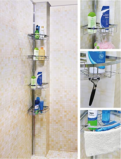 Leapair Tension Shower Caddy 4 Tier Adjustable Bathroom Constant Tension  Corner Pole Caddy For Shampoo,