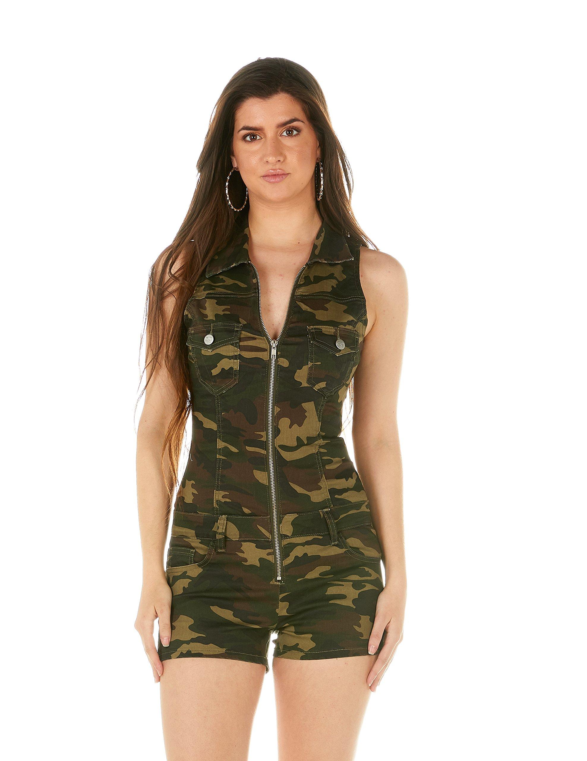V.I.P. JEANS Women's Size Slim Fit Sleeveless Denim Romper Shorts Zip Up, Green Camo, Plus (XXL) by V.I.P. JEANS