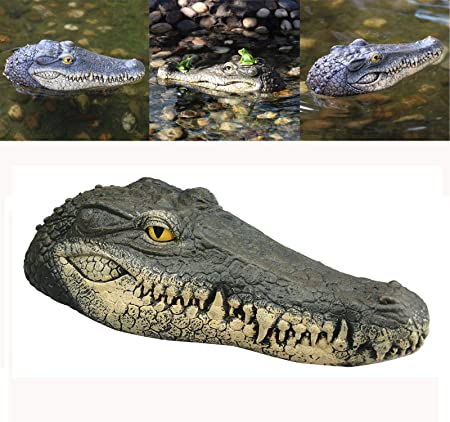 Best Value Here Crocodile Alligator Head Floating Pond Ornament Water Feature Reptile Sculpture Garden Animal