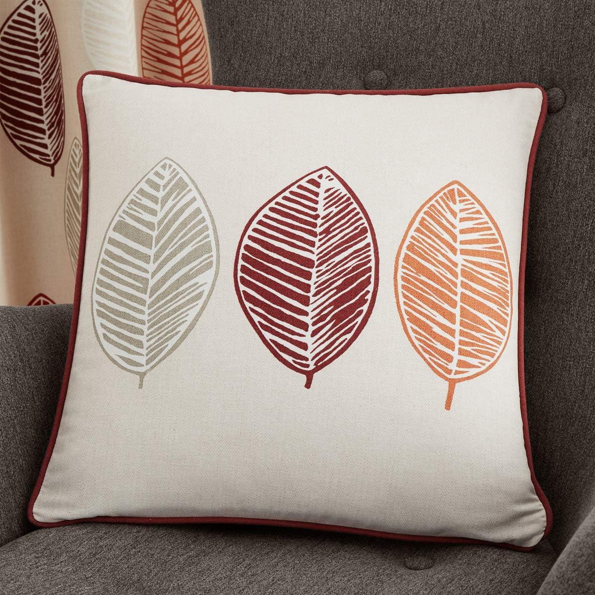 100/% Cotton Cushion Cover Skandi Leaf 43x43 cm in Red Fusion
