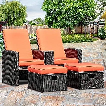 Tangkula 3 PCS Patio Adjustable Backrest Rattan Sofa Ottoman Furniture Set  Outdoor Garden Lawn Conversation Sofa Furniture Set w/Cushions Foot Rest ...