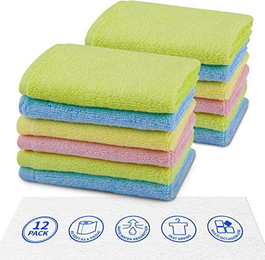 Wash Cloths for Bathroom Colors May Vary Machine Washable Cleaning Rags 10 pack BEST PRODUCT DELUXE 100/% Cotton WASHCLOTHS