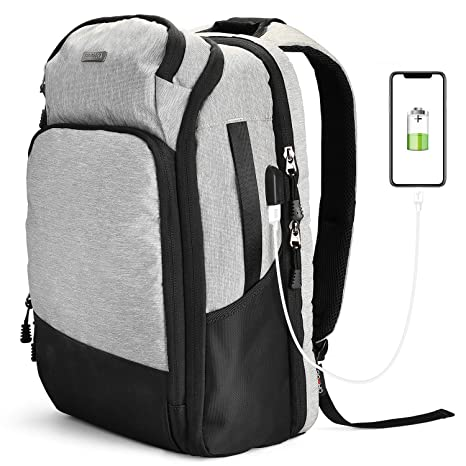 04ee30cd56df ROOHO Laptop Backpack for School & Travel,Business Anti Theft Slim Durable  Laptops Backpack with USB Charging Port,Water Resistant College School ...