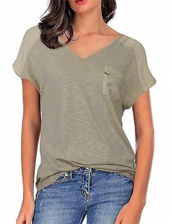 ad80e176 Vivilli Loose Fitting Tops for Women, Ladies Casual Loose V Neck Short  Sleeve Pocket Slub