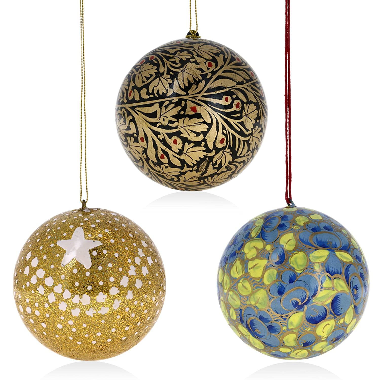 buy set of 18 paper mache ball christmas ornaments handmade