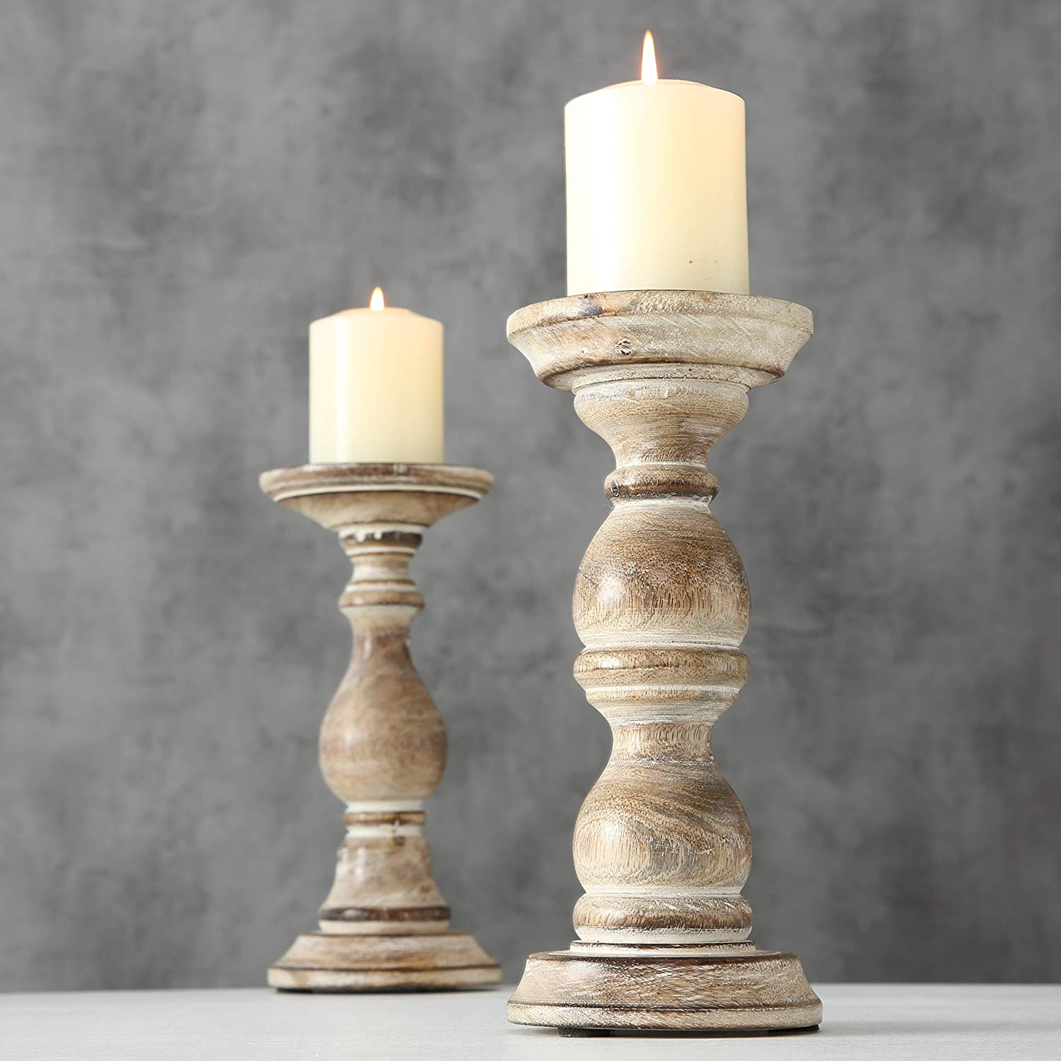 9 H x 4 D Inches Rounded Turned Columns Distressed with Vintage Style White Wash Spiked Metal Top Sustainable Mango Set of 2 WHW Whole House Worlds Rustic Stockbridge Wooden Candle Holders