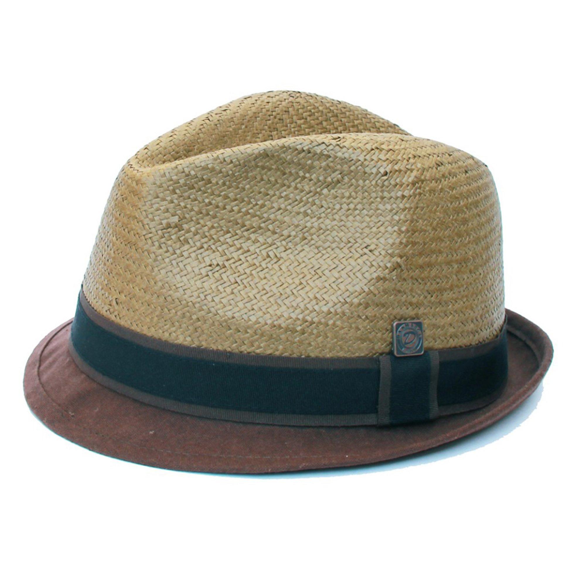 Dasmarca Harley Chocolate Short Linen Brim Retro Lightweight Summer Straw Trilby Hat - XL