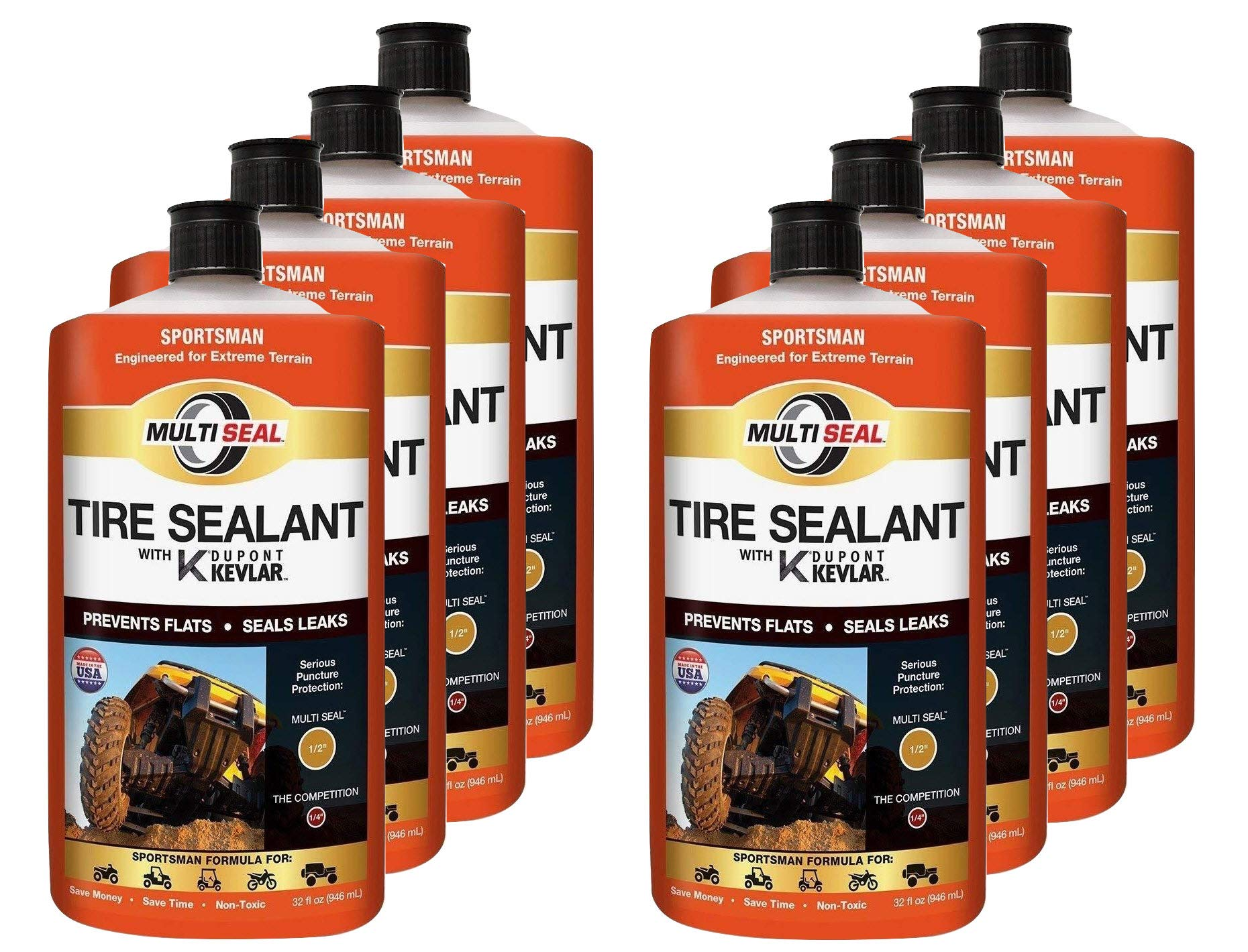 MULTI SEAL 20138 Tire Sealant with Kevlar (Sportsman Formula), Great for ATVs, UTVs / Side-by-Sides, Golf Carts, Dirt Bikes, Off-Road-Only Jeeps and more, 8-Pack (256 oz.)