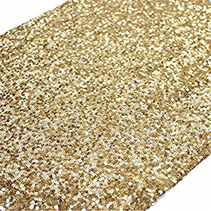 TRLYC 12 X 120 Inch Sparkly Gold Sequin Table Runner,Sequin Tablerunner Gold
