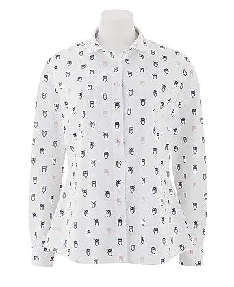 72eeea7f Savile Row Company Women's White Navy Poplin Owl-Print Semi-Fitted Shirt 10