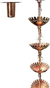 Sunflower Home & Garden 8 Ft Pure Copper Umbrella Rain Chain with Bonus Adapter Installer Piece