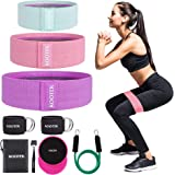 Kootek Booty Band Resistance Loop Bands for Leg and Butt 3 Levels Elasticity Bands with Door Anchor 2 Core Sliders Legs…