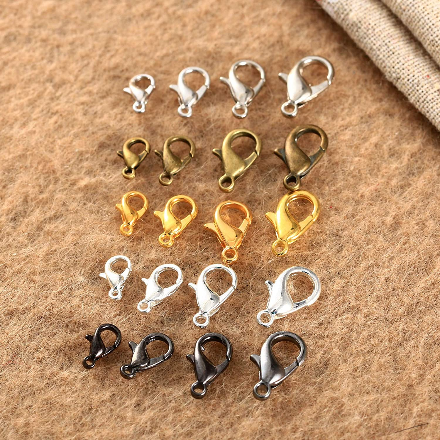 Silver 10mm Dophee 100Pcs DIY Craft Plated Jewelry Lobster Clasp Claw Buckle Hook Finding Necklace