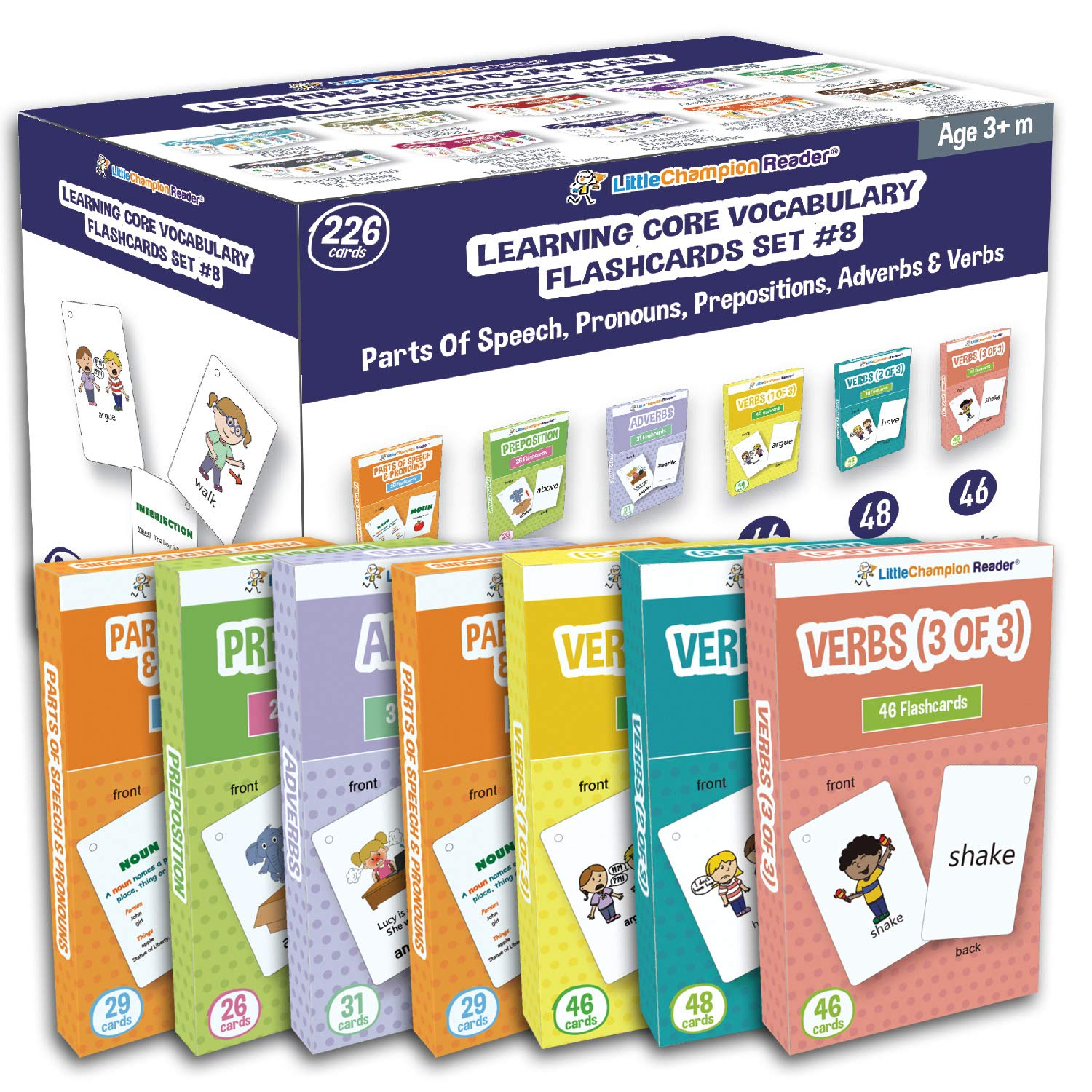 Little Champion Reader Set 8 Flash Cards for Toddlers - 226 Parts of Speech & Pronouns, Adverbs, Preposition and Action Verb Flash Cards - Learning for Baby Toddler Preschool Kindergarten by Little Champion Reader