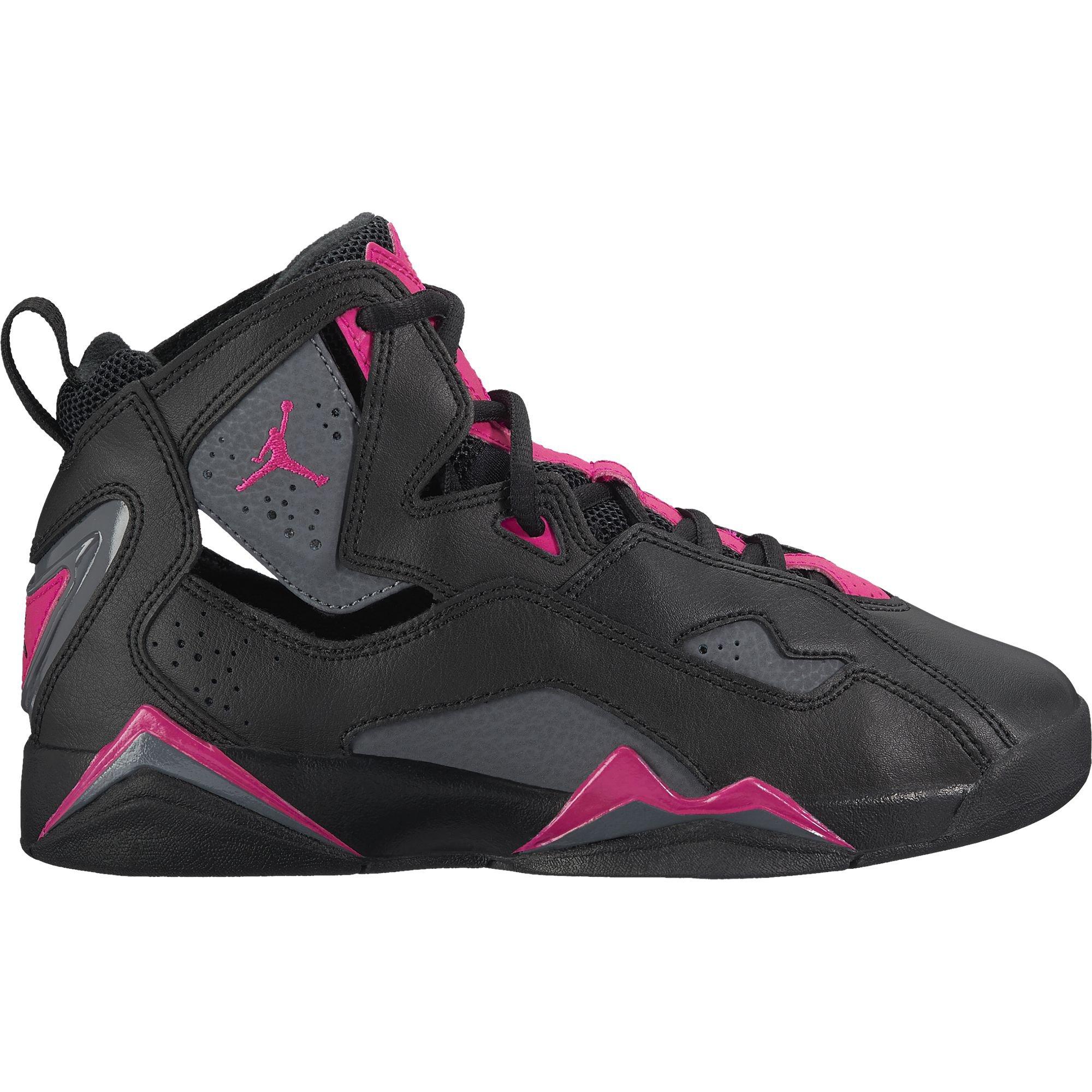 Jordan True Flight Black/Dark Grey-Deadly Pink (Big Kid) (3.5 Big Kid M)