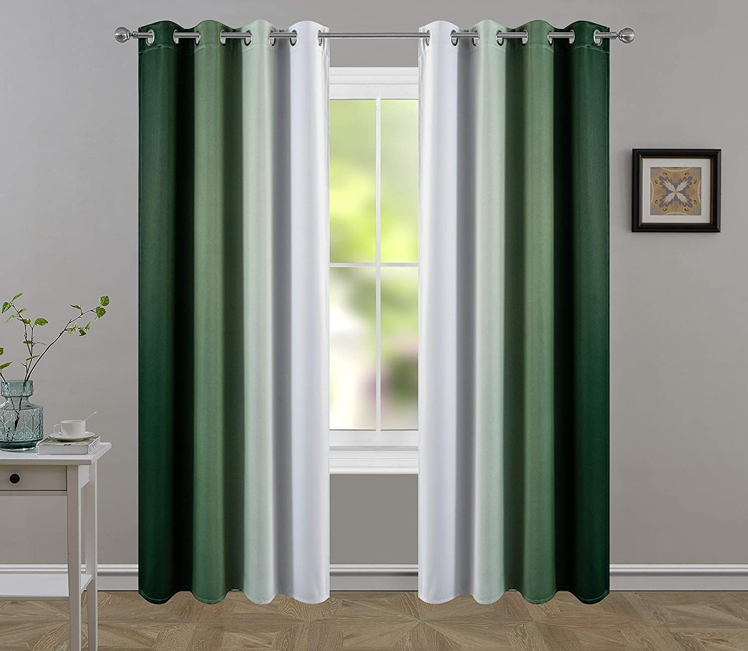 HHMY Blackout/Light Blocking Curtains for Living Room/Bedroom.Gradient Color Darkening Curtains Emerald Green Luxury Drapes Treatment 2 Panels(Emerald Green to Cream White,W52×L84