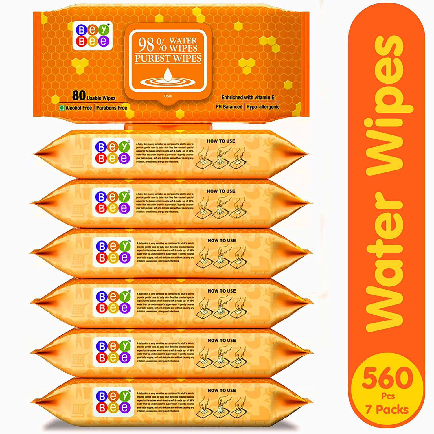 Bey Bee Baby Water Wipes with Lid (Pack of 7, 80 Sheets per Pack)