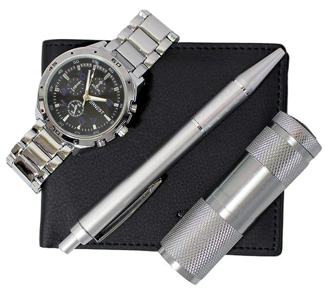 Set de regalo para hombre con reloj, cartera, pluma y linterna: Amazon.es: Relojes