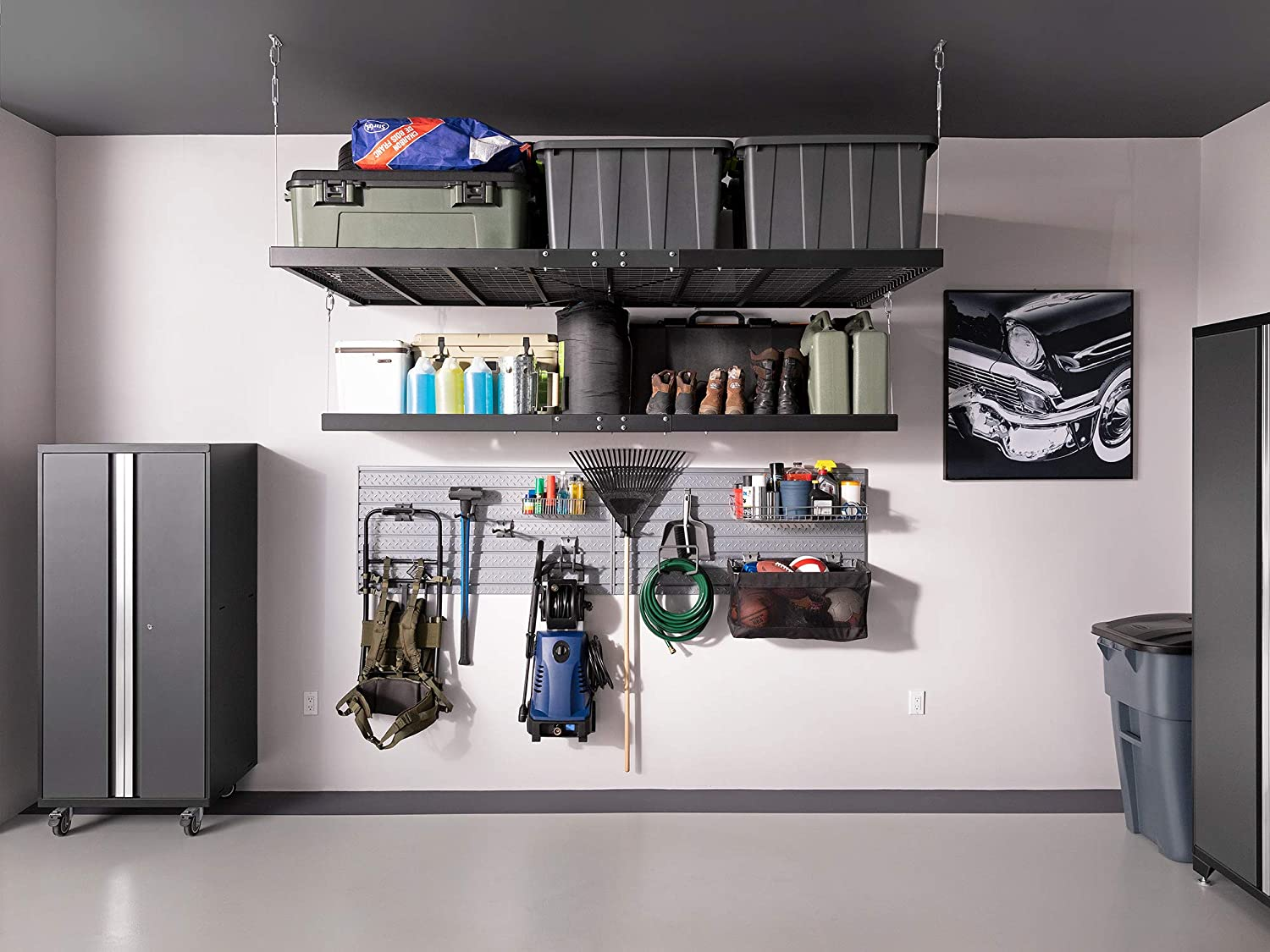 NewAge Products Pro Series Black 2 ft. x 8 ft. Wall Mounted Steel Shelf, Garage Overheads
