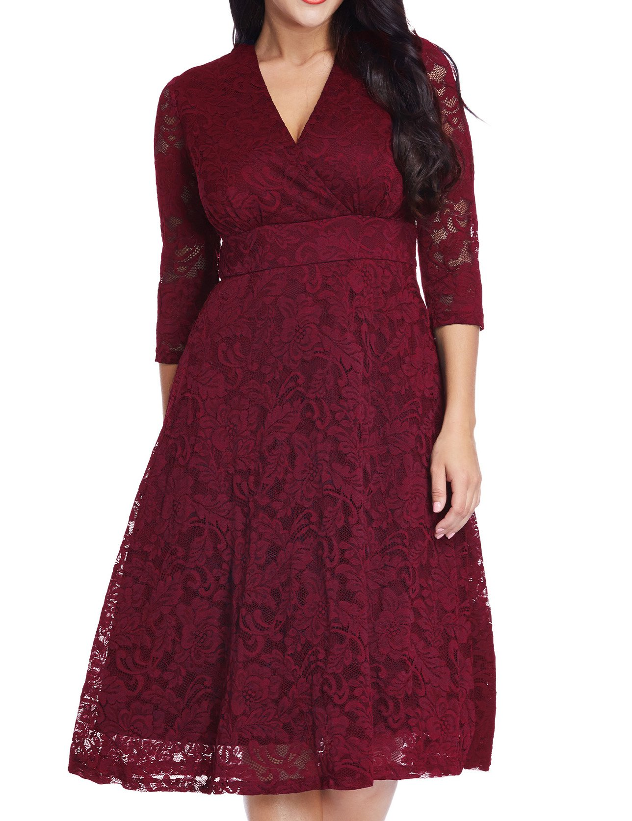 GRAPENT Women's Lace Plus Size Mother Of The Bride Skater Dress Bridal Wedding Party Maroon 16W by GRAPENT (Image #3)