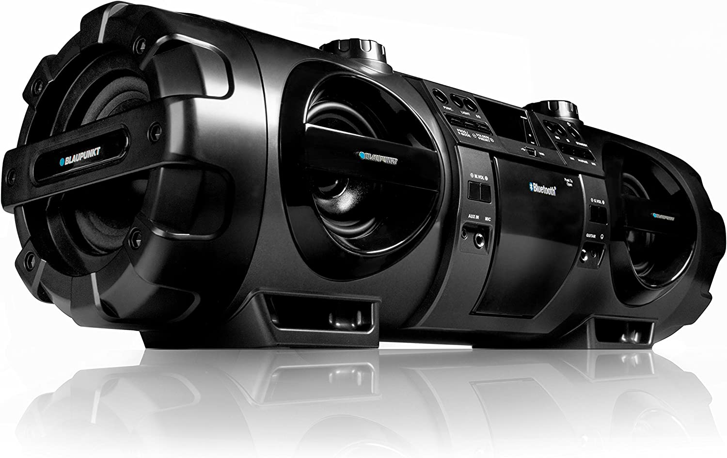 Blaupunkt Bb 1000 Boombox With Cd Mp3 Usb Bluetooth Fm Aux In Microphone And Guitar Black Home Cinema Tv Video
