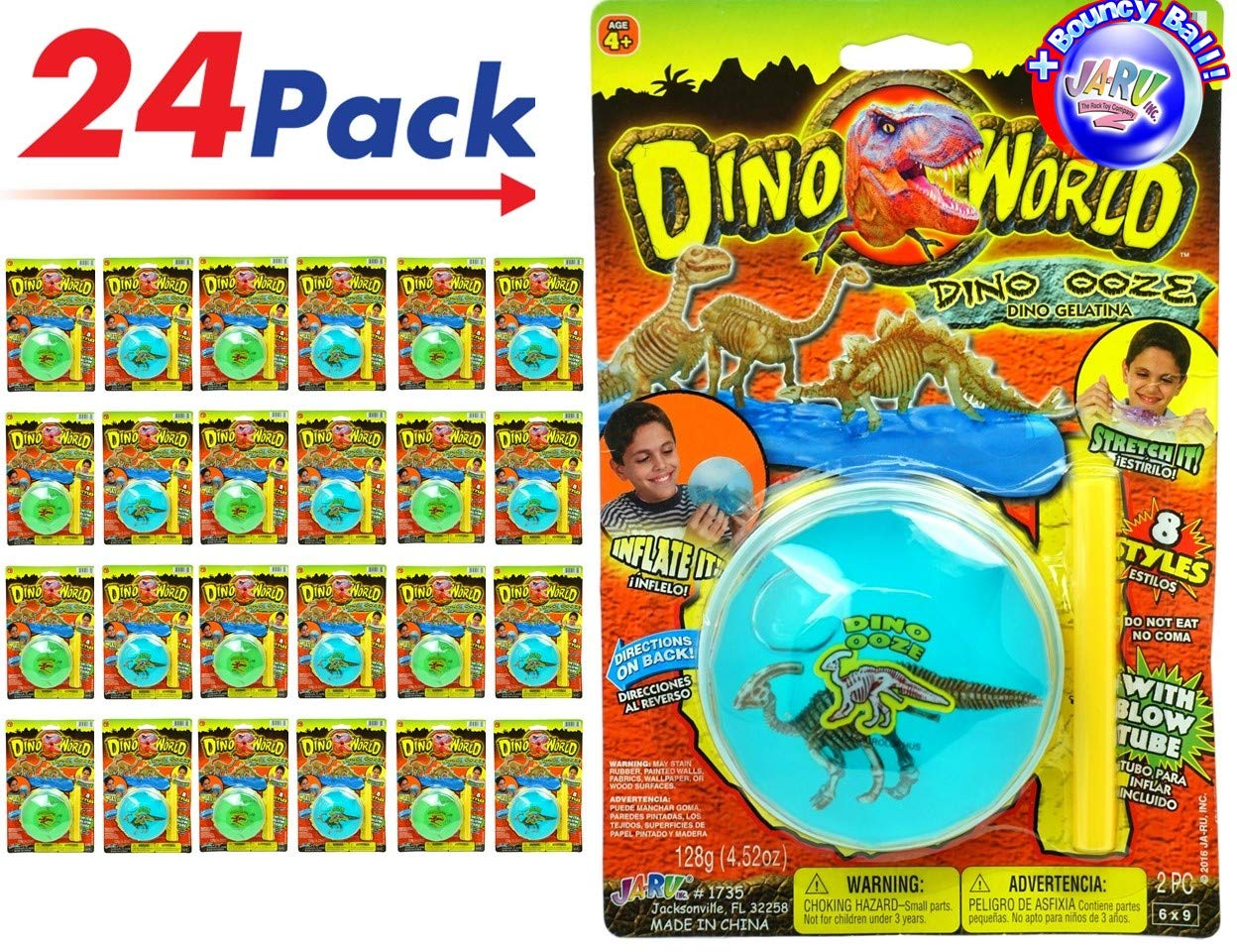 JA-RU Jurassic World Soft Inflatable Magic Slime (Pack of 24) Novelty New Slime for Kids Party Item #1735-24p