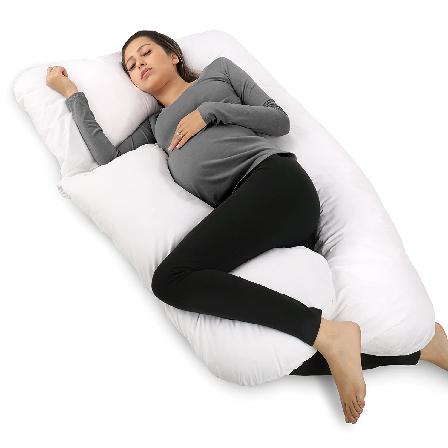 PharMeDoc Pregnancy Pillow, U-Shape Full Body Pillow and Maternity Support with Detachable Extension - Support for Back, Hips, Legs, Belly for Pregnant Women PMD-U-BP-WH