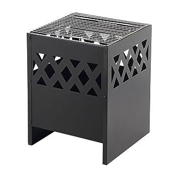 Mari Garden Avila - Cesta de fuego, moderna, rectangular y de acero, con