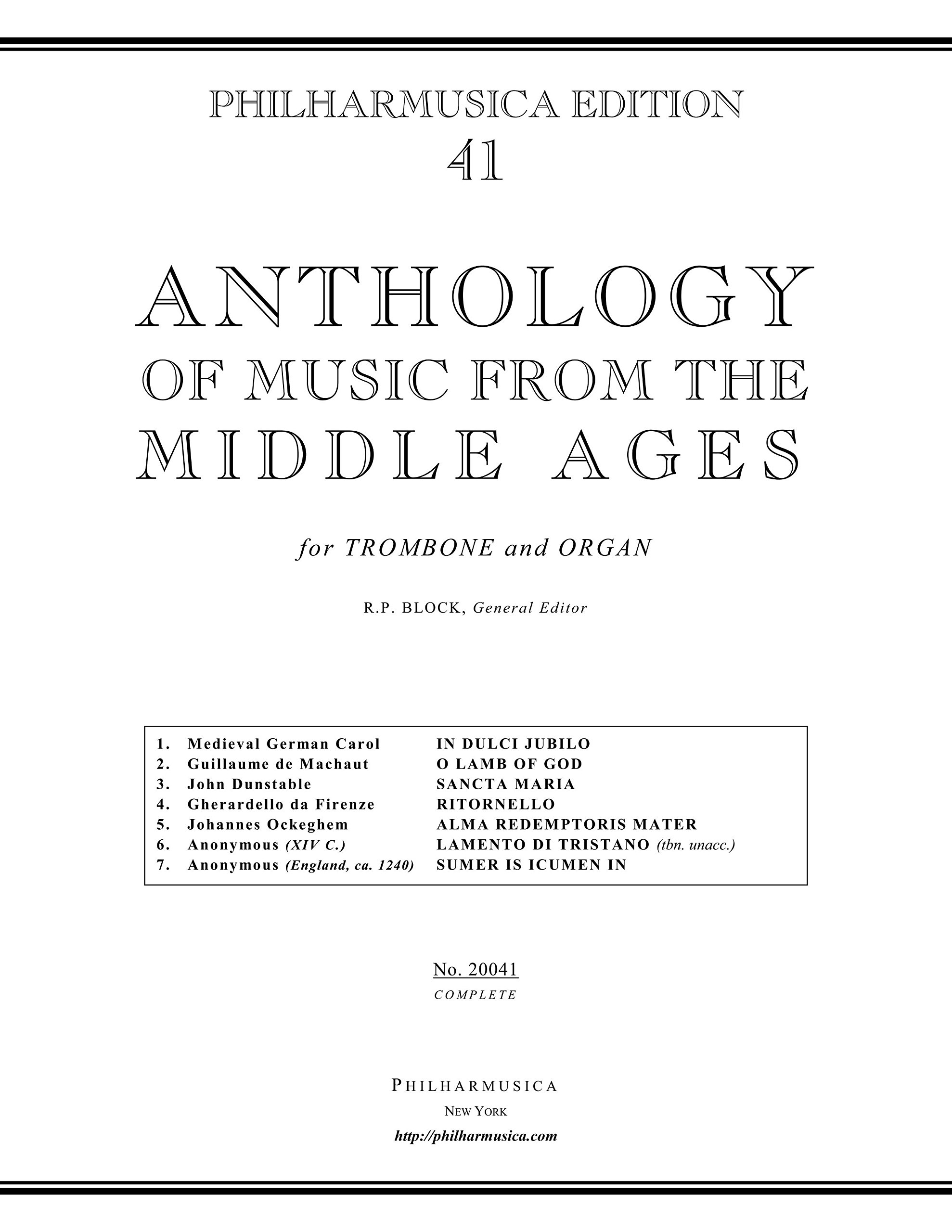 Anthology of Music from the Middle Ages, edition for Trombone and Organ (20041)