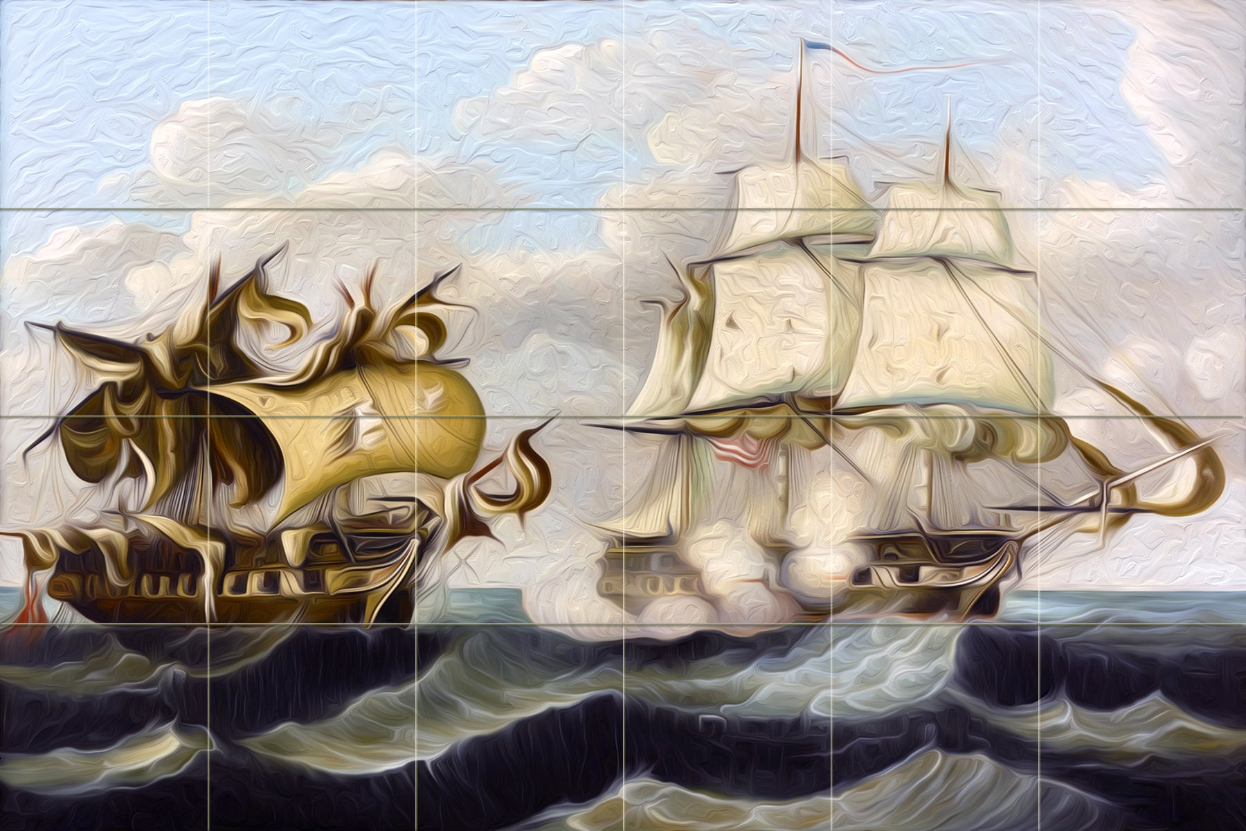 CAPTURE by Thomas Chambers sea fight ships waves water Tile Mural Kitchen Bathroom Wall Backsplash Behind Stove Range Sink Splashback 6x4 4.25'' Ceramic, Matte