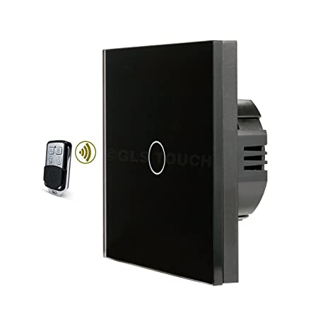 GLSTouch Smart RF Touch Light Switch, Black Glass Panel, 1 Gang 1 ...