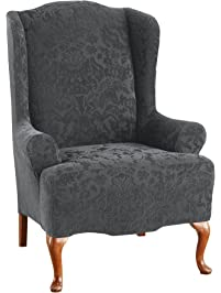 Sure Fit Stretch Jacquard Damask   Wing Chair Slipcover   Gray (SF41456)