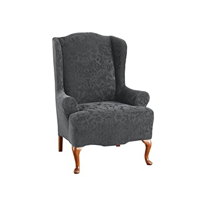 Excellent Sure Fit Stretch Jacquard Damask Wing Chair Slipcover Gray Sf41456 Machost Co Dining Chair Design Ideas Machostcouk