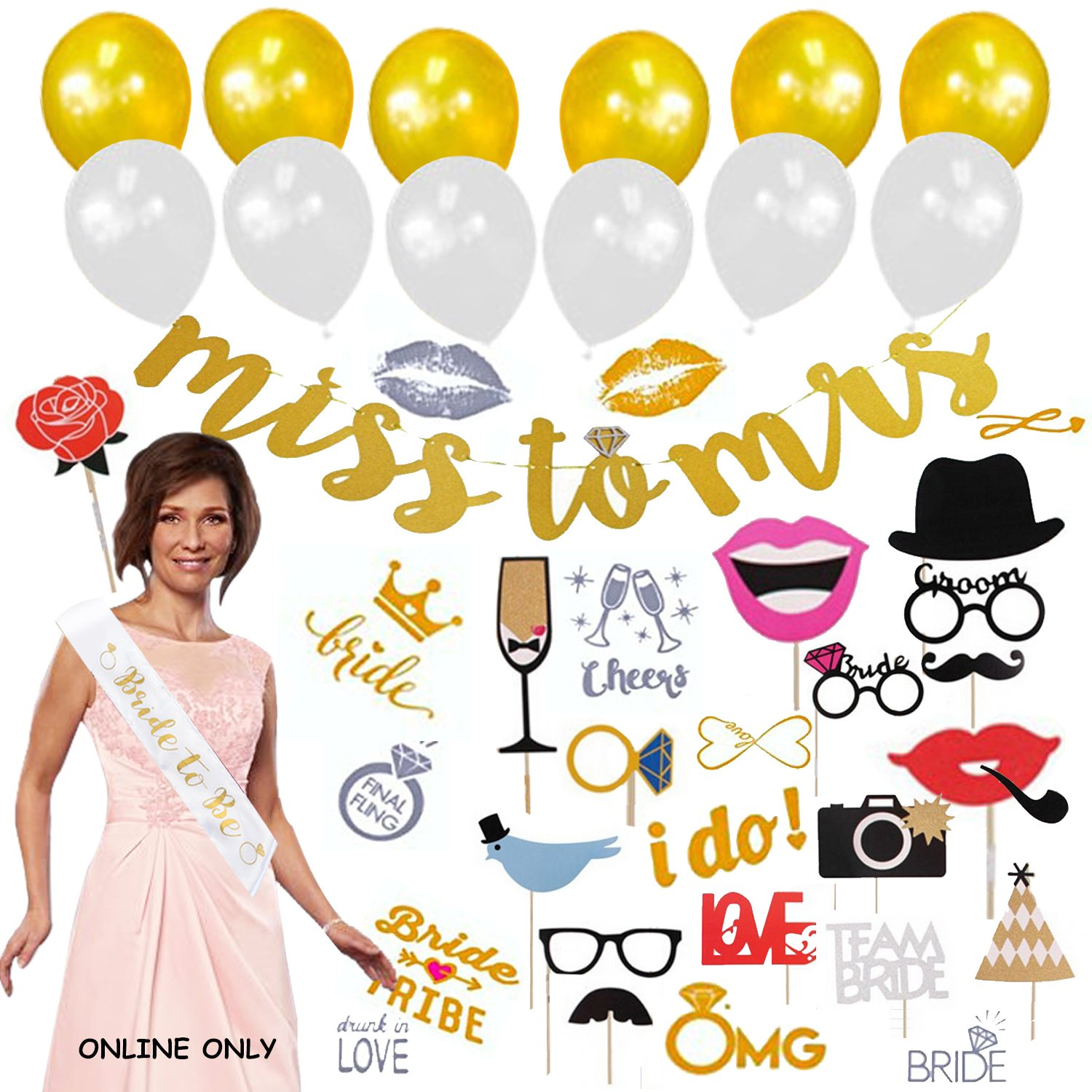 RJD Global Bachelorette Party Decorations Kit: Bridal Wedding Shower Set Bride To Be, Supplies Gifts Bride Photo Booth Props Bride Banner, Sash Goodies Great Bachelorette Present Girls Night Out