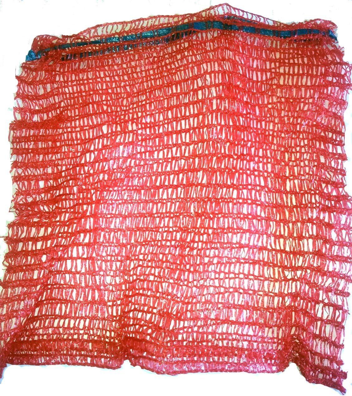 VRYSAC - 100 sacos malla 40x50 raschel rojo, con cerrador, para 10kg de naranjas, cebollas o limones, unos 5kg de nueces