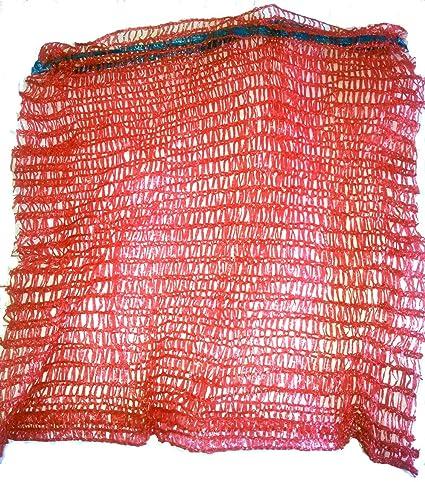 VRYSAC - 100 sacos malla raschel rojo, con cerrador, para 5kg de naranjas, cebollas o limones, 2-3kg de nueces