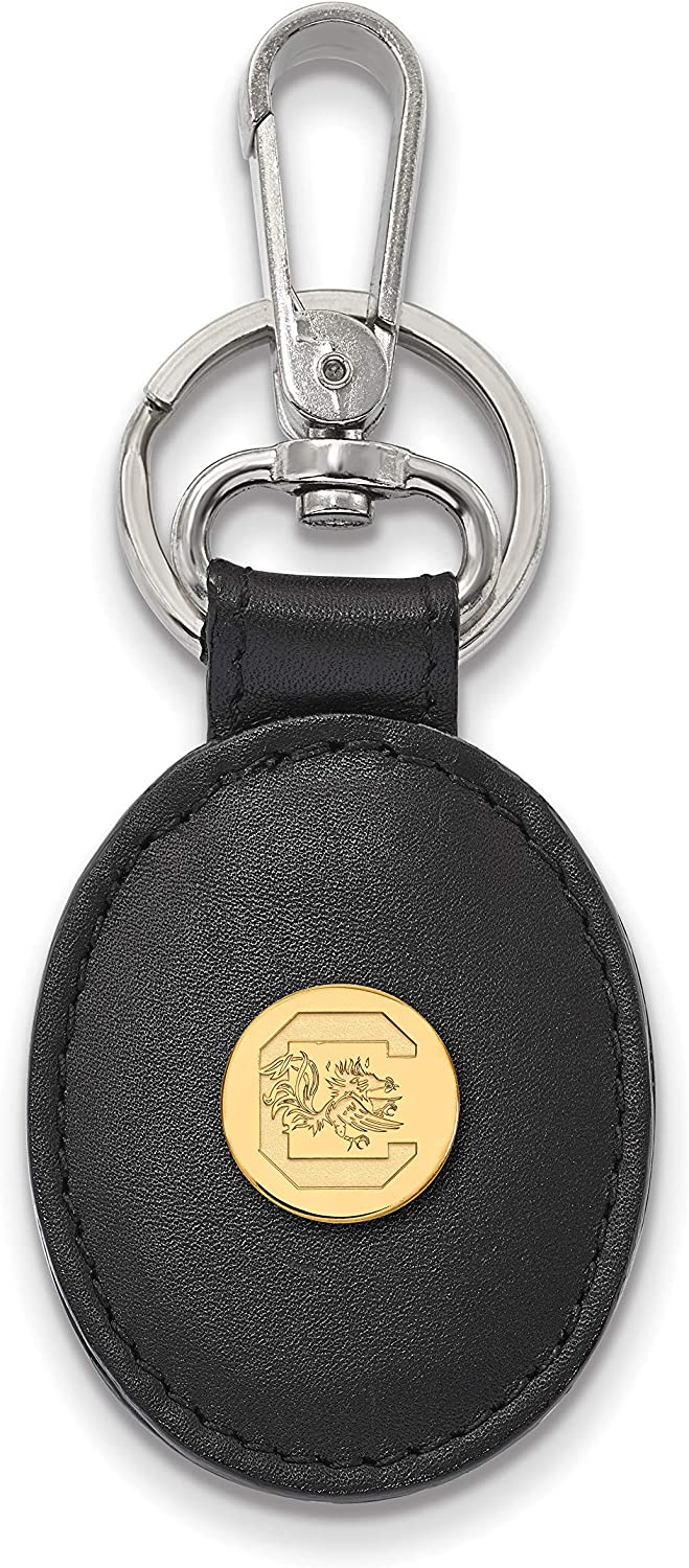 Black Leather Oval Key Chain SC Sterling Silver w// 14K Yellow Gold-Plated LogoArt Official Licensed Collegiate University of South Carolina